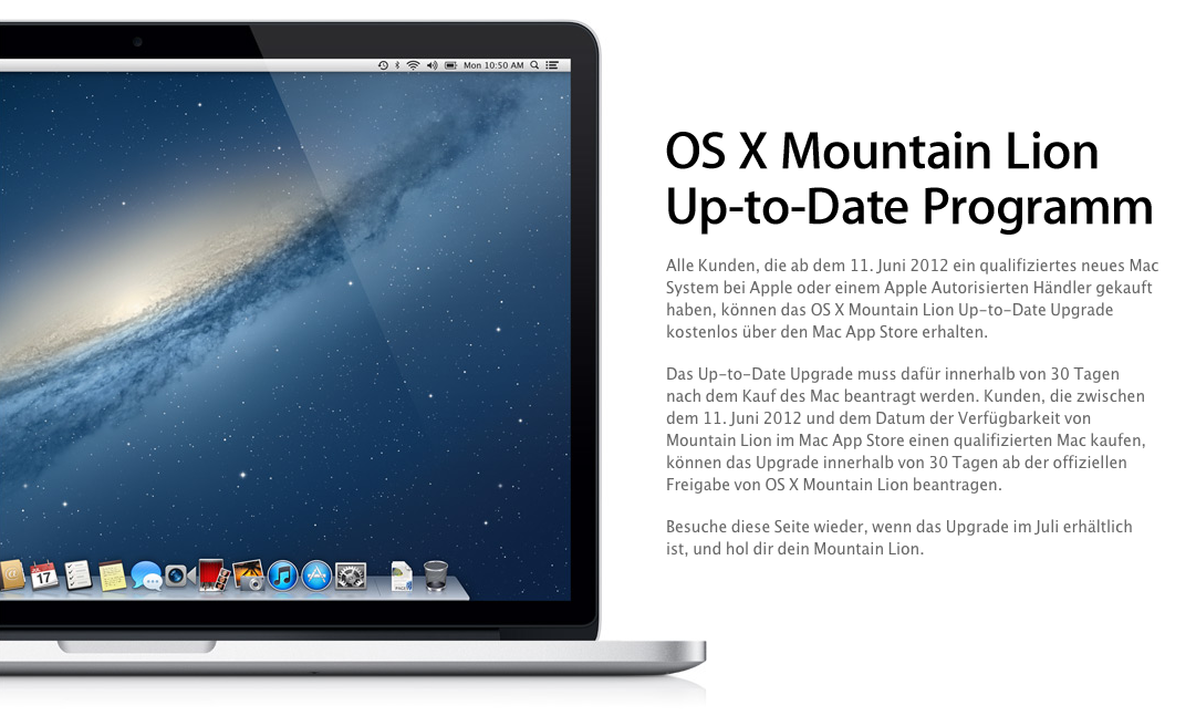 OS X Mountain Lion Up-to-Date Programm für neue Mac