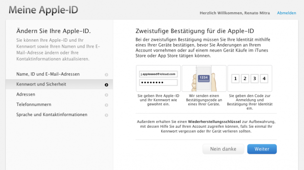 Zweistufige Bestätigung für die Apple-ID
