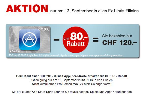 iTunes App Store-Karten bei Ex libris 40% günstiger