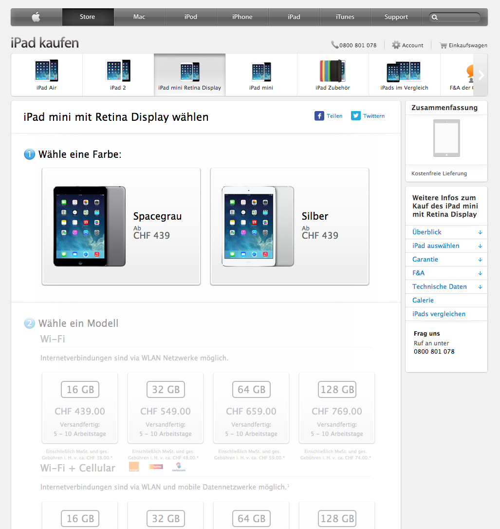 ipad mini retina display im apple online store apfelblog. Black Bedroom Furniture Sets. Home Design Ideas