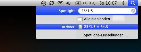 Mit dem Spotlight Rechnungen lösen