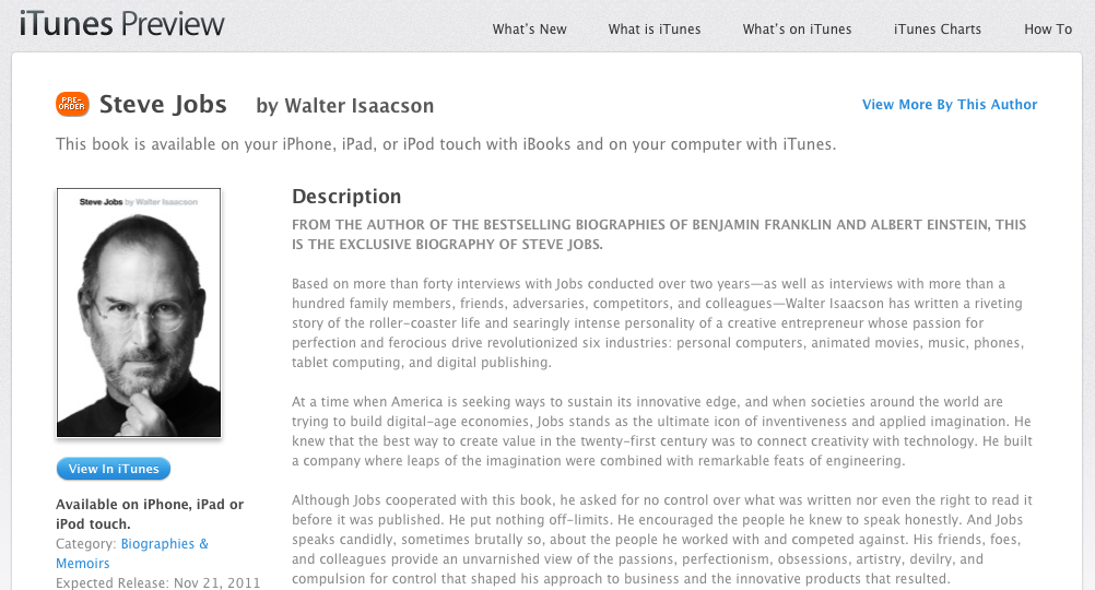 steve jobs biographie im schweizer ibook store apfelblog. Black Bedroom Furniture Sets. Home Design Ideas