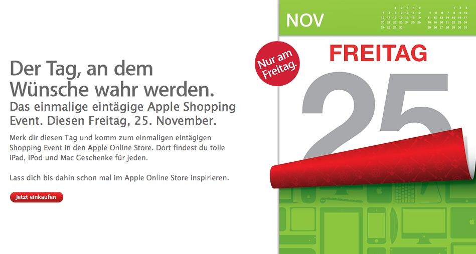 Black Friday – Apple Shopping Event am 25. November 2011