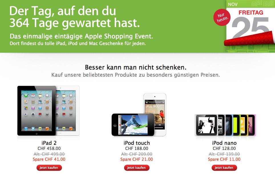 Black Friday mit rund 10% Vergünstigung im Apple Store