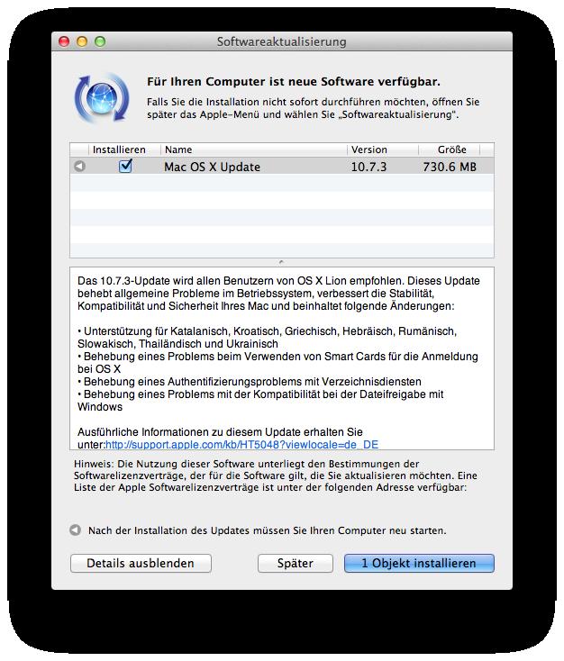 Mac OS X 10.7.3 Update behebt Wi-Fi Probleme
