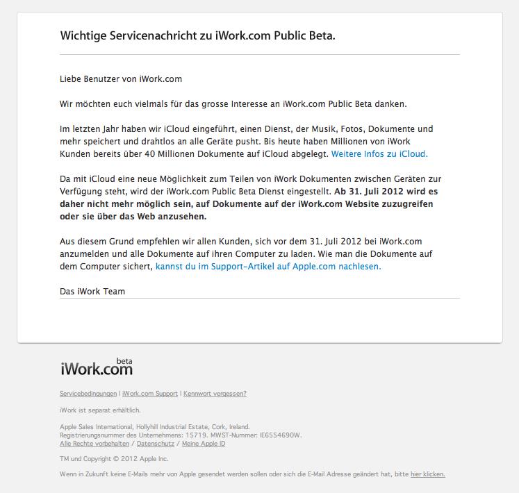 iWork.com Public Beta wird per 31. Juli 2012 eingestampft