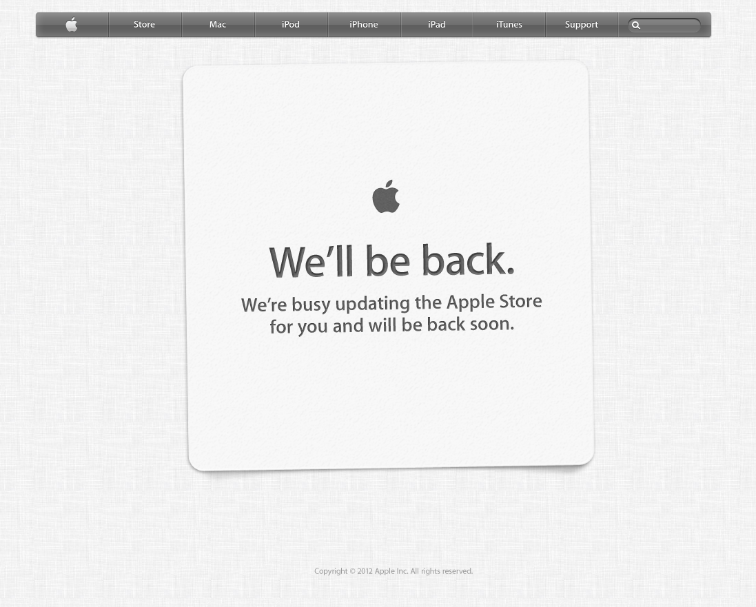 Apple Store – We'll be back. [Updated]