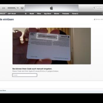 Kamera erkennt iTunes Gutscheinkarten