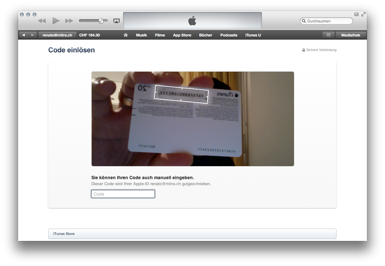 iTunes Guthaben über die Kamera laden