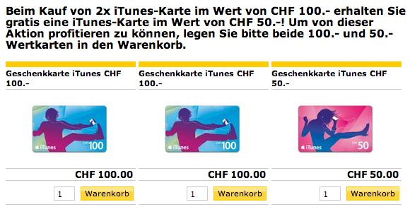Postshop iTunes Geschenkkarten Aktion