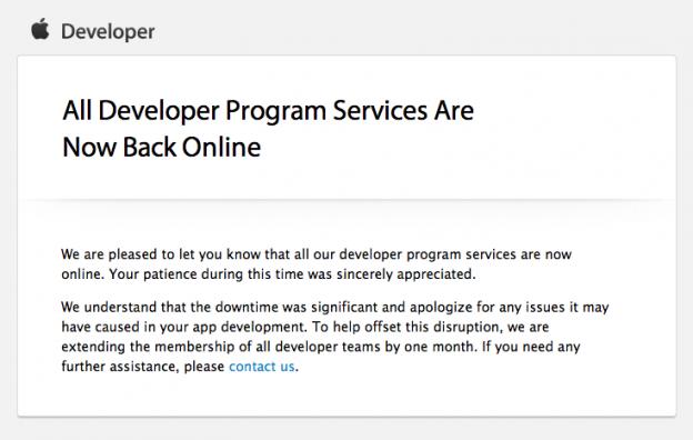 Mail Von Apple: Alle Services für Developer sind wieder online!