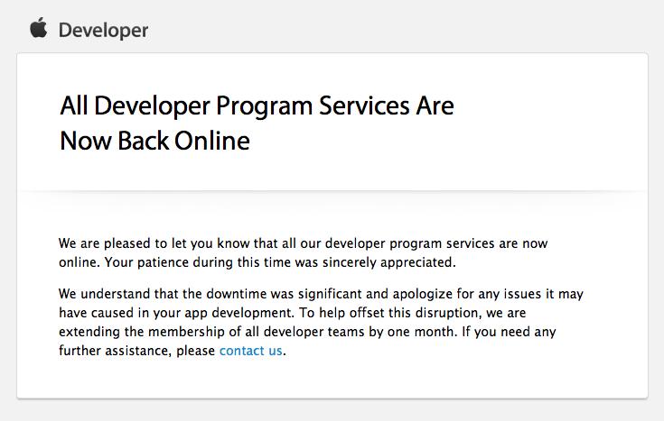 Entwickler-Portal von Apple endlich wieder vollständig online