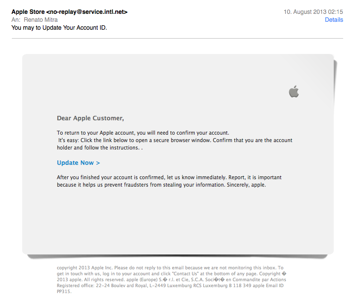 Apple Phishing Mail
