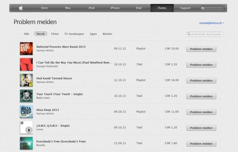 iTunes Rückerstattung