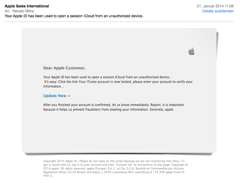 Phishing: Daten von Mac-Nutzern werden gerne geklaut.