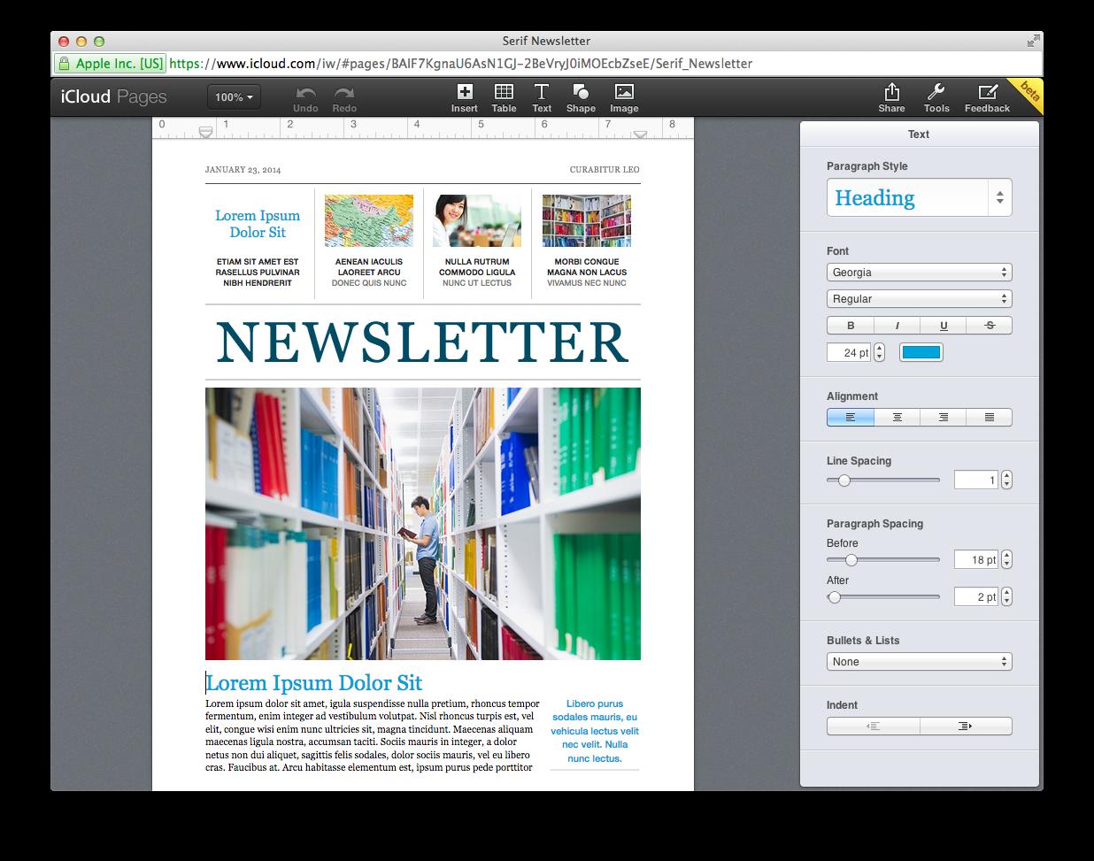 Pages, Numbers und Keynote neu in der iCloud.