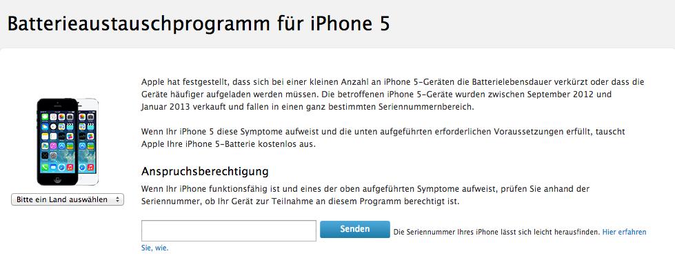 Batterieaustauschprogramm für iPhone 5.