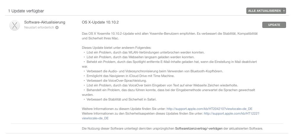 Update auf Yosemite 10.10.2 und iOS 8.1.3