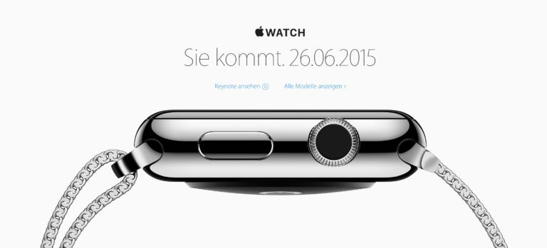 Am 26. Juni 2015 kommt die Apple Watch in die Schweiz