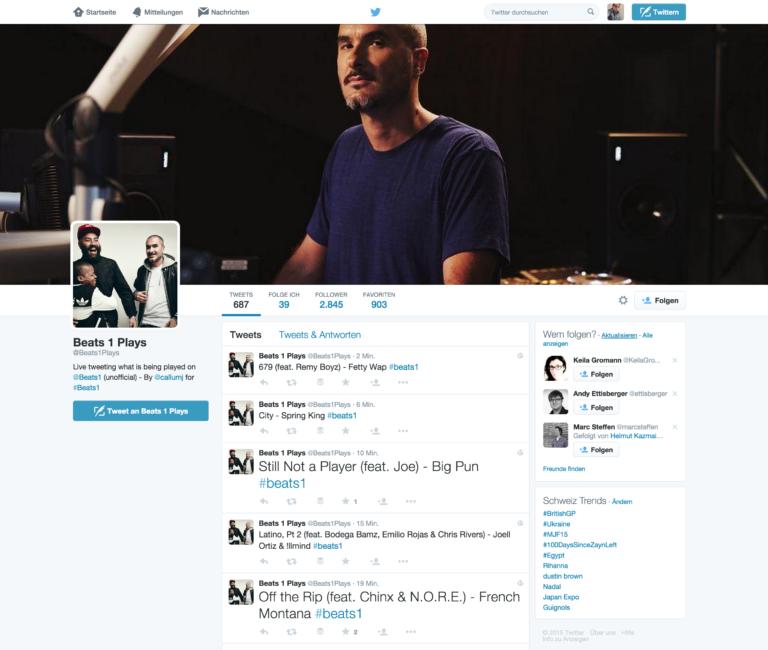Twitter-Account von Beats 1 Plays