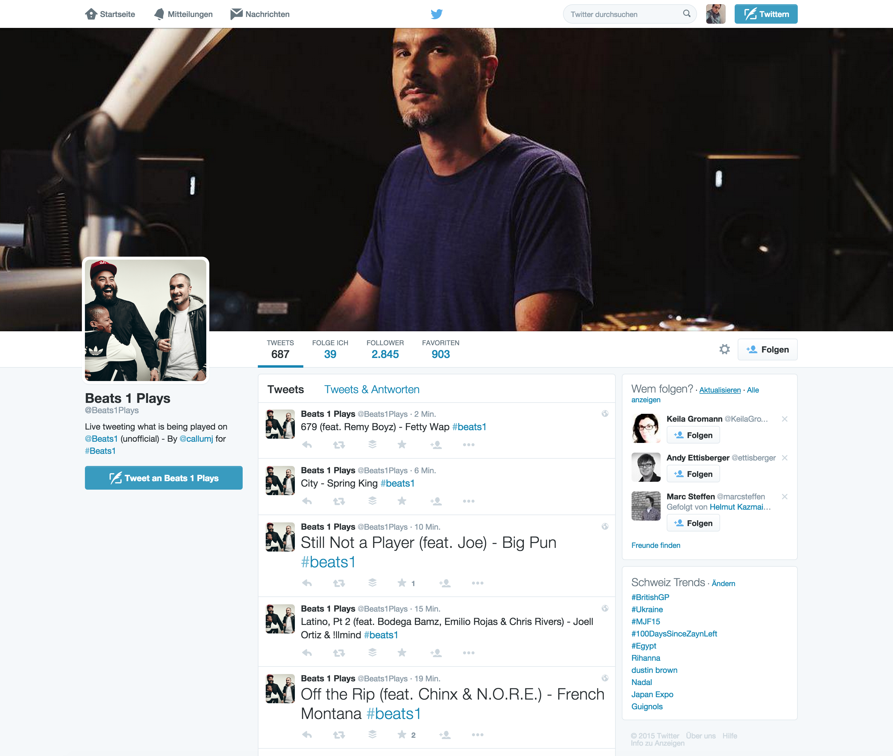 Twitter-Account von Beats 1 Plays