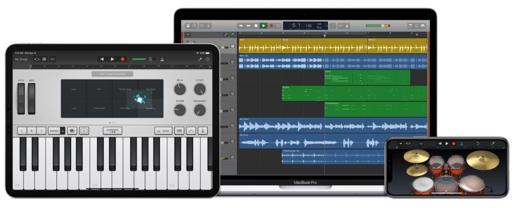 Apple GarageBand auf Mac, iPad Pro und iPhone.