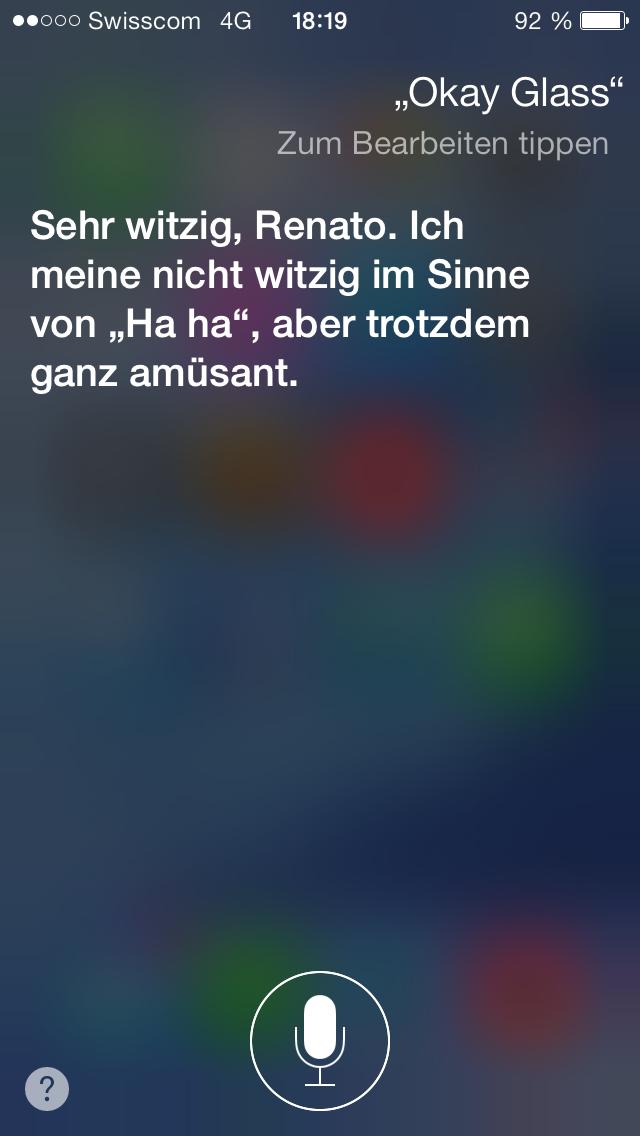 "Siri findet ""Okay, Glass"" nicht so witzig!"