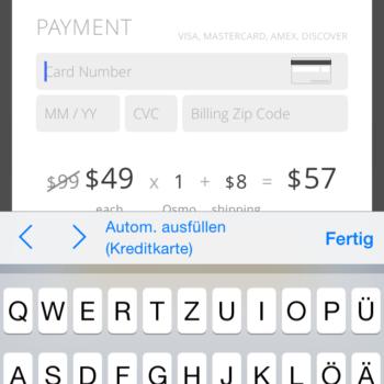 Erfasste Kreditkarten einsetzen oder Karte abfotografieren.