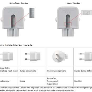 Rückrufprogramm Netzteil Adapter Apple