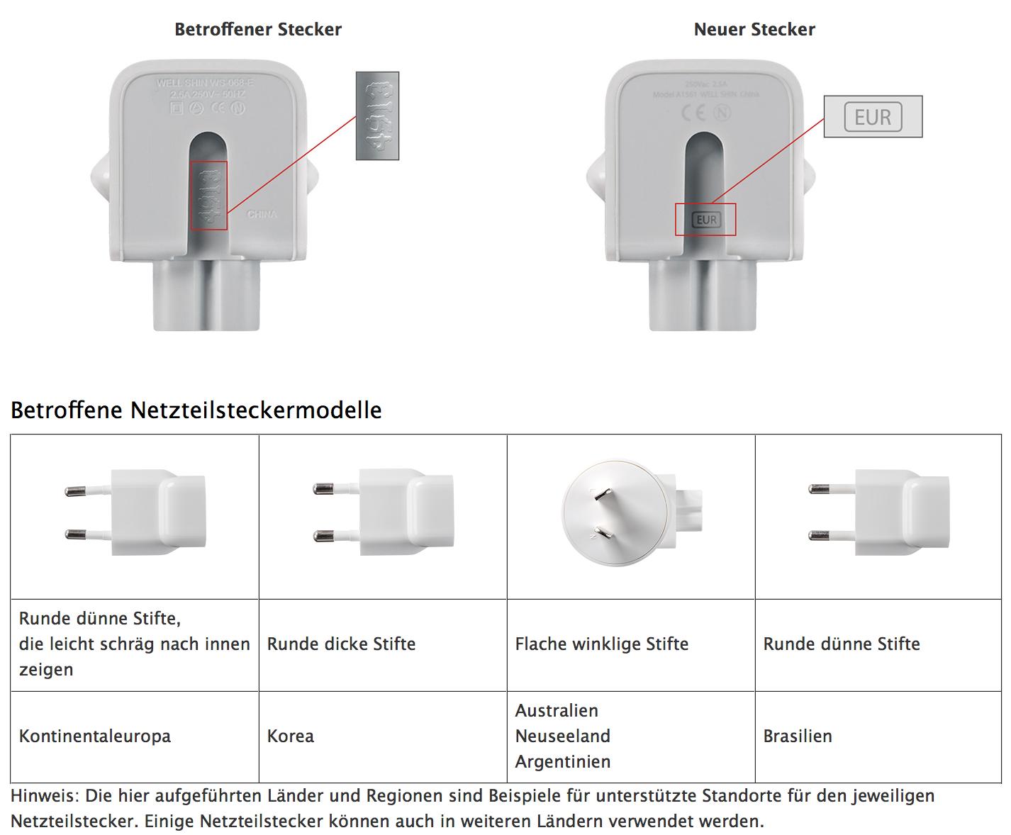 Rückrufprogramm: Apple hat Probleme mit ein paar Netzteilstecker-Adaptern.