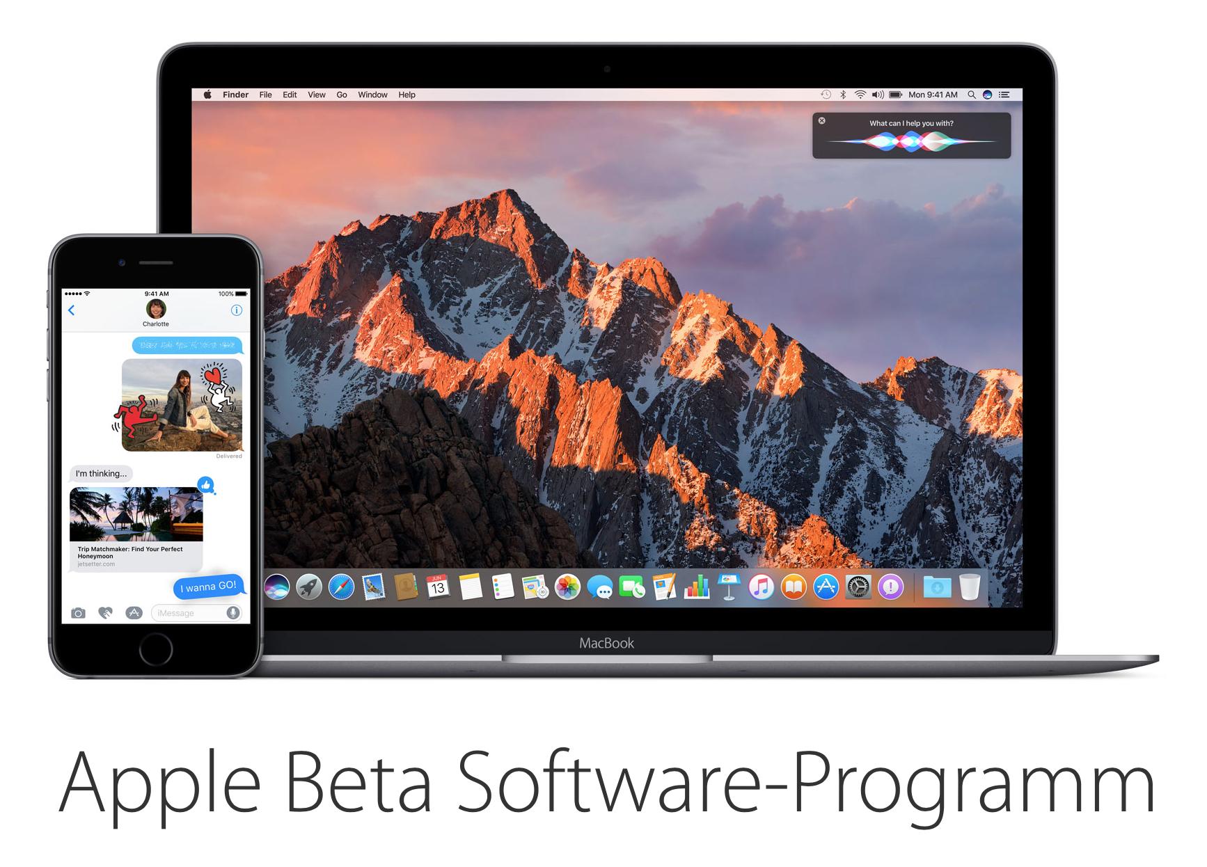 Jetzt bereits iOS 10 und macOS Sierra laden.