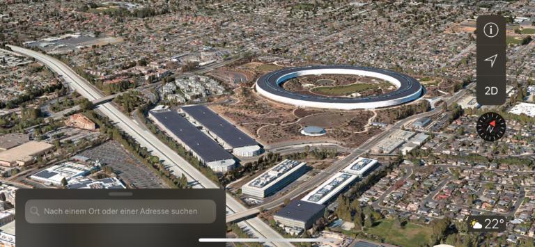 Apple Campus 2 auf Apple Karten App