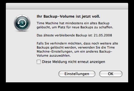 Ihr Backup-Volumen ist jetzt voll.