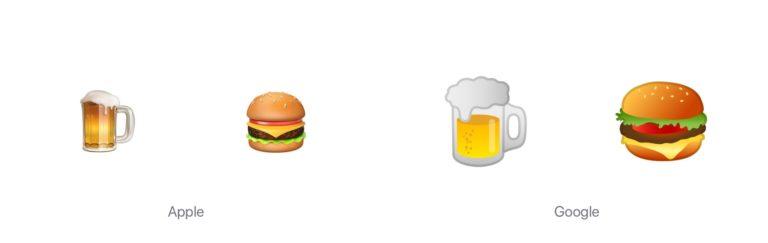 Emojis von Apple und Google