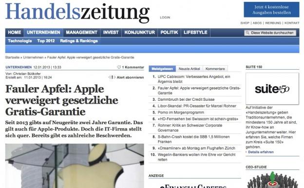 Handelszeitung - Fauler Apfel