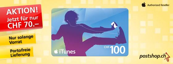 iTunes Karten für CHF 70 statt CHF 100