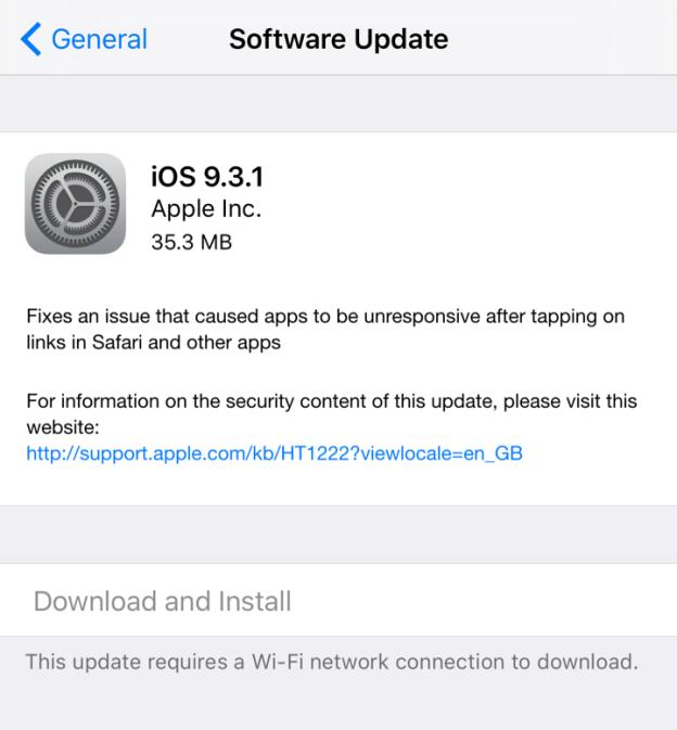 iOS 9.3.1 Update