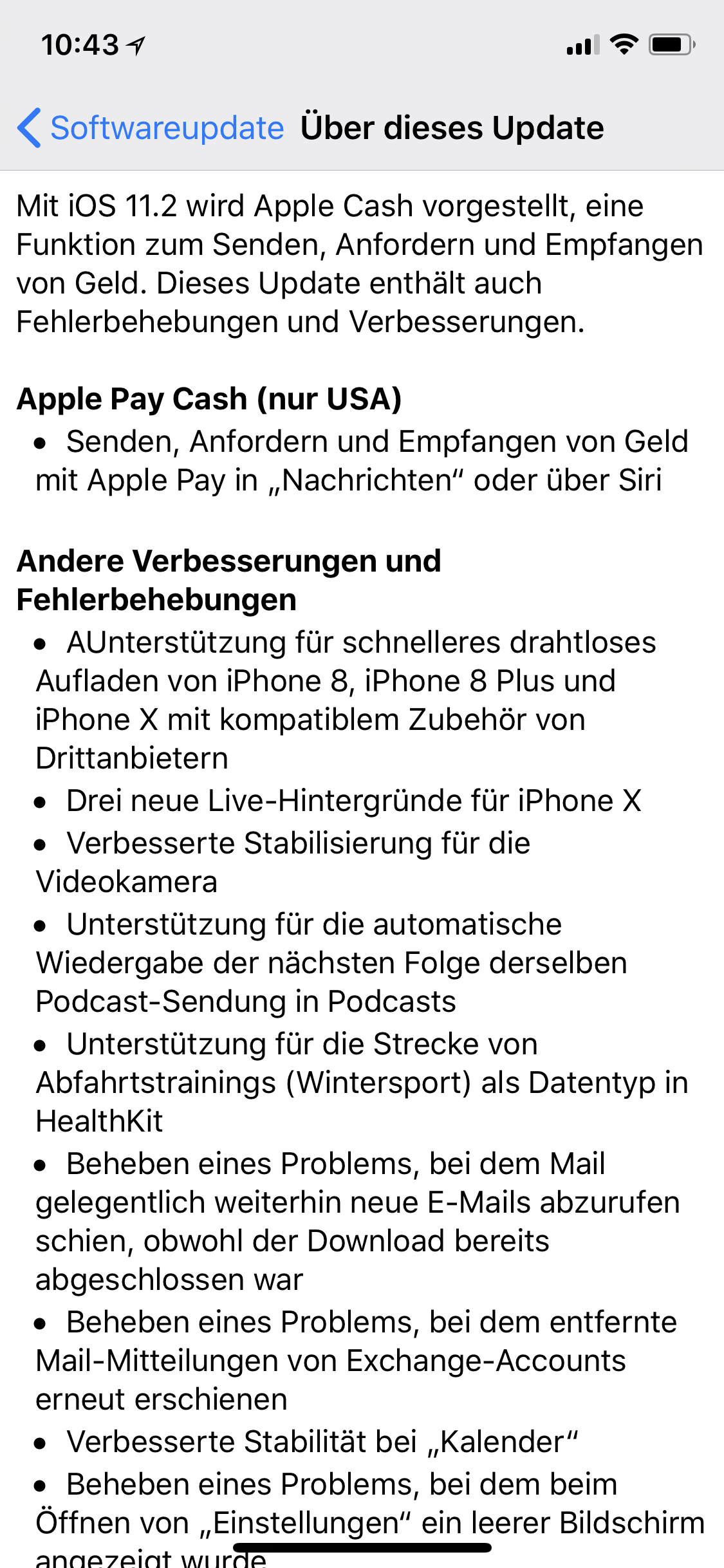 Update auf iOS 11.2 Teil 1