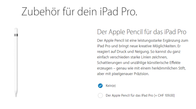 iPad Pro Pencil bestellen