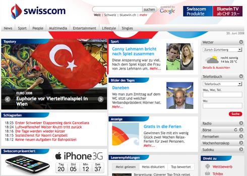 Bluewin.ch: Swisscom im iPhone Fieber!