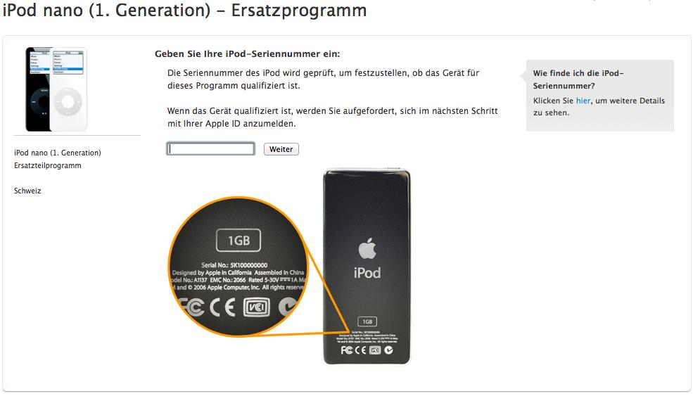 iPod nano (1. Generation) werden ausgetauscht