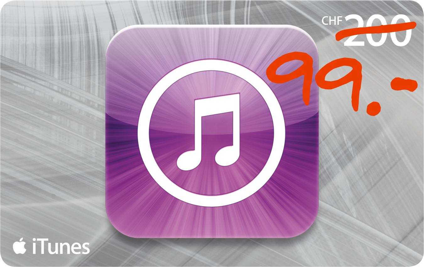 iTunes Geschenkkarte CHF 200 für nur CHF 99!