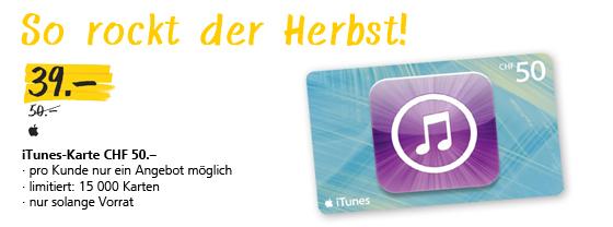 iTunes Karten für CHF 39.- anstelle von CHF 50.-