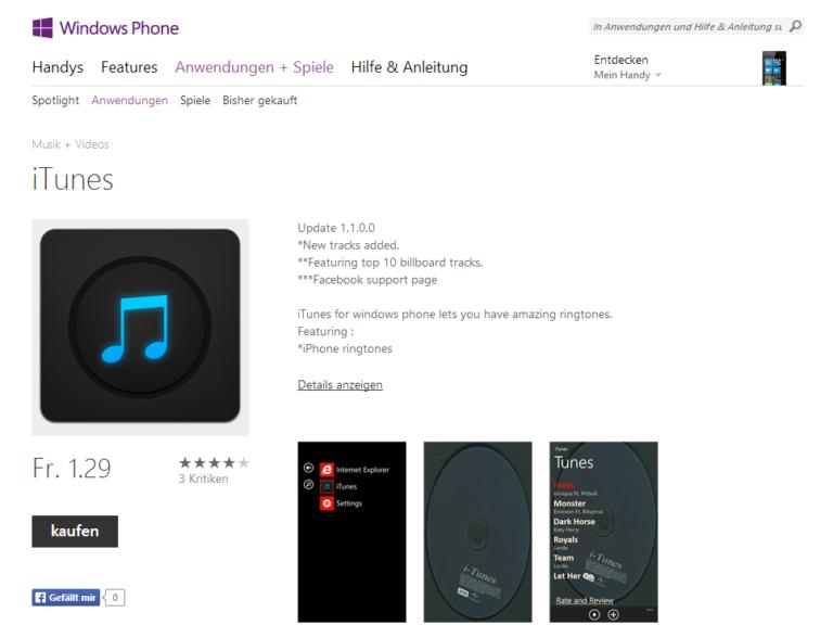 iTunes auf dem Windows Phone