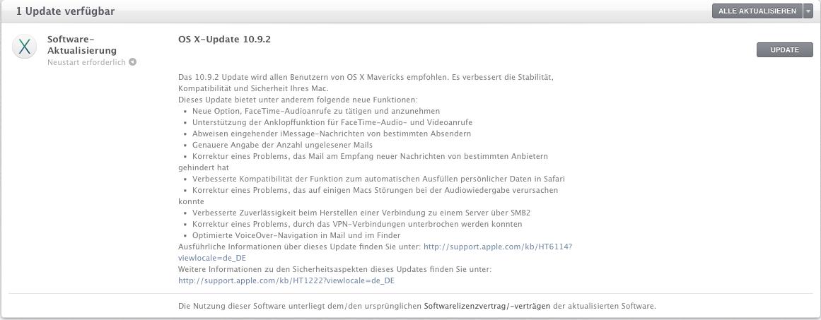 Dringendes Sicherheitsupdates: Mac OS X 10.9.2