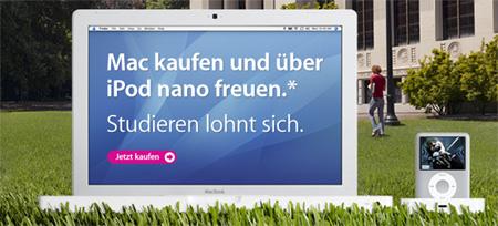 Mac für Studenten mit gratis iPod nano
