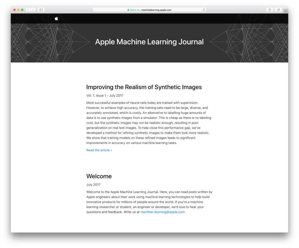Blog-Journal von Apple zum Thema Machine Learning