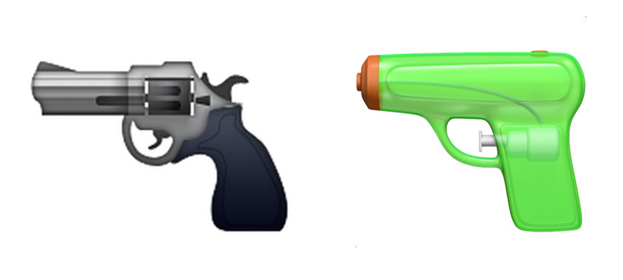 Apple und das Pistolen-Emoji.