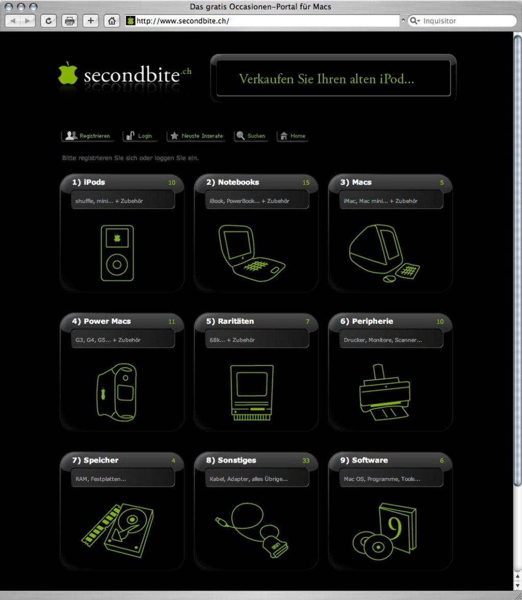 So sah Secondbite.ch im Jahr 2005 aus