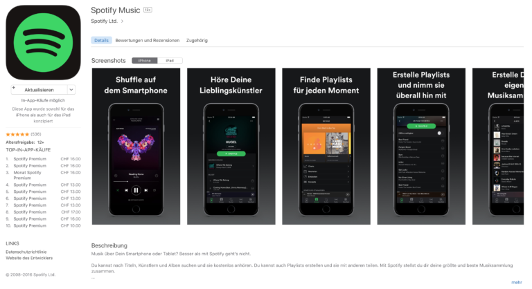 Spotify im Apple App Store